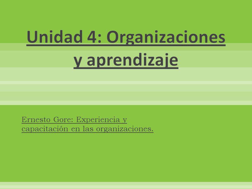 Ernesto Gore: Experiencia y capacitación en las organizaciones.