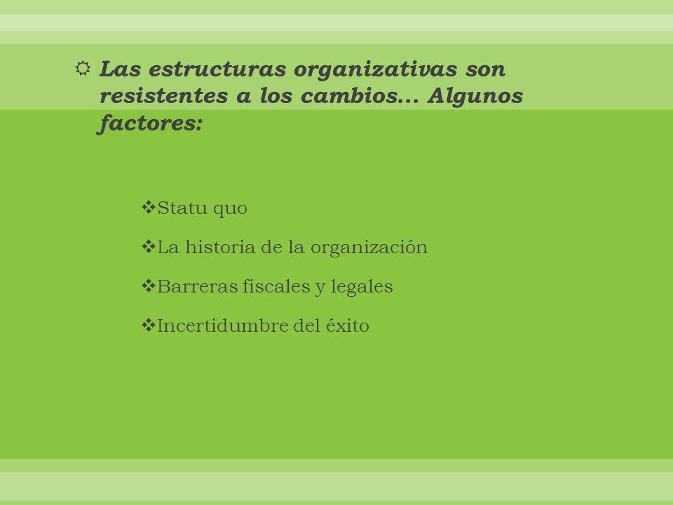Las estructuras organizativas son resistentes a los cambios...