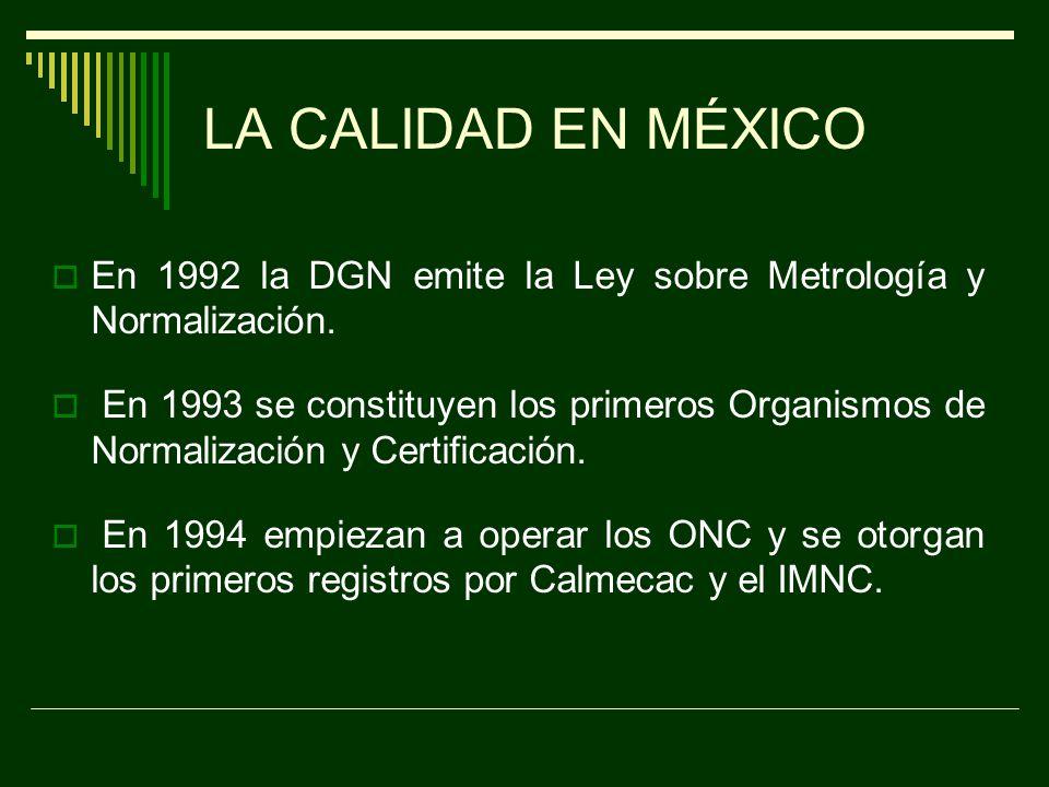 LA CALIDAD EN MÉXICO México empieza a participar con ISO en 1988, cuando se forma un grupo de trabajo voluntario para elaborar las normas sobre Sistemas de Calidad.