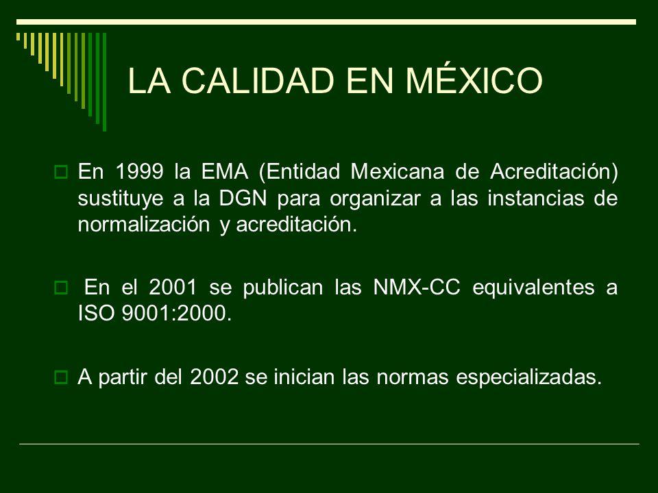LA CALIDAD EN MÉXICO En 1992 la DGN emite la Ley sobre Metrología y Normalización.