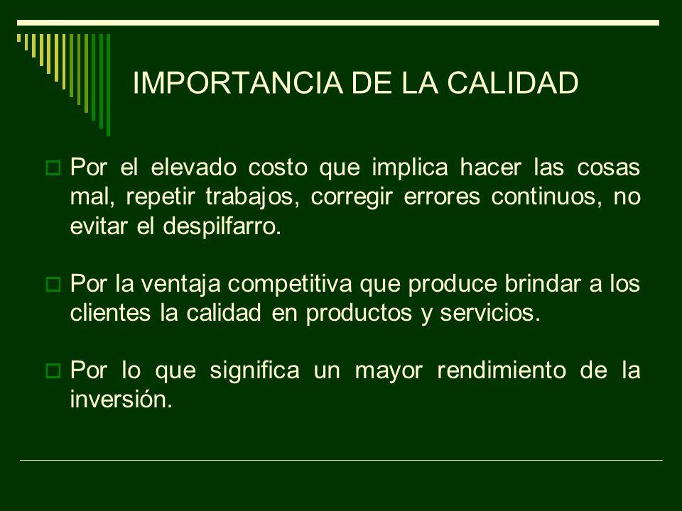 DEFINICIÓN DE CALIDAD El grado de satisfacción del cliente, a través del cumplimiento de normas y procedimientos definidos para la realización del producto o servicio.