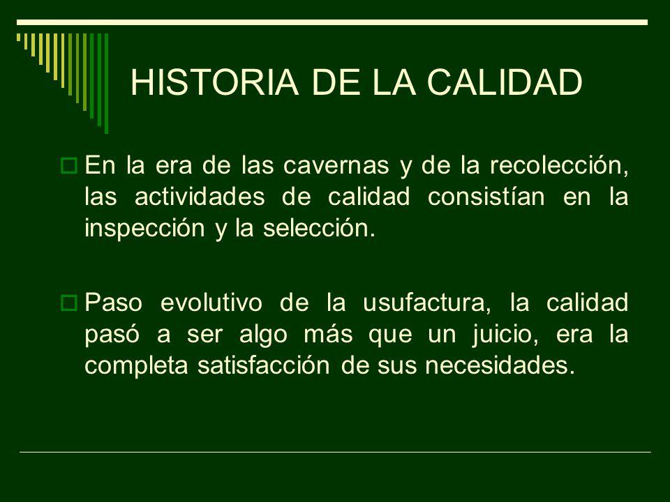 HISTORIA DE LA CALIDAD La variabilidad es una ley natural.