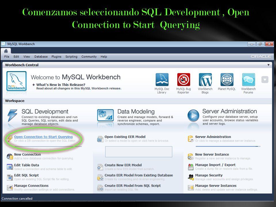 Comenzamos seleccionando SQL Development, Open Connection to Start Querying