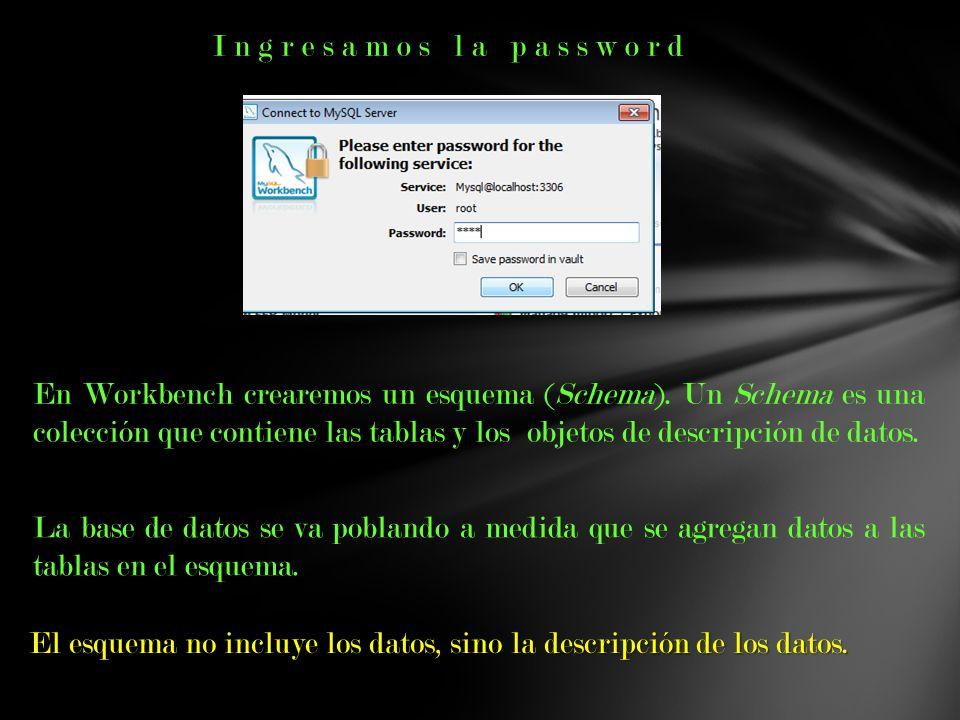 Ingresamos la password En Workbench crearemos un esquema (Schema). Un Schema es una colección que contiene las tablas y los objetos de descripción de