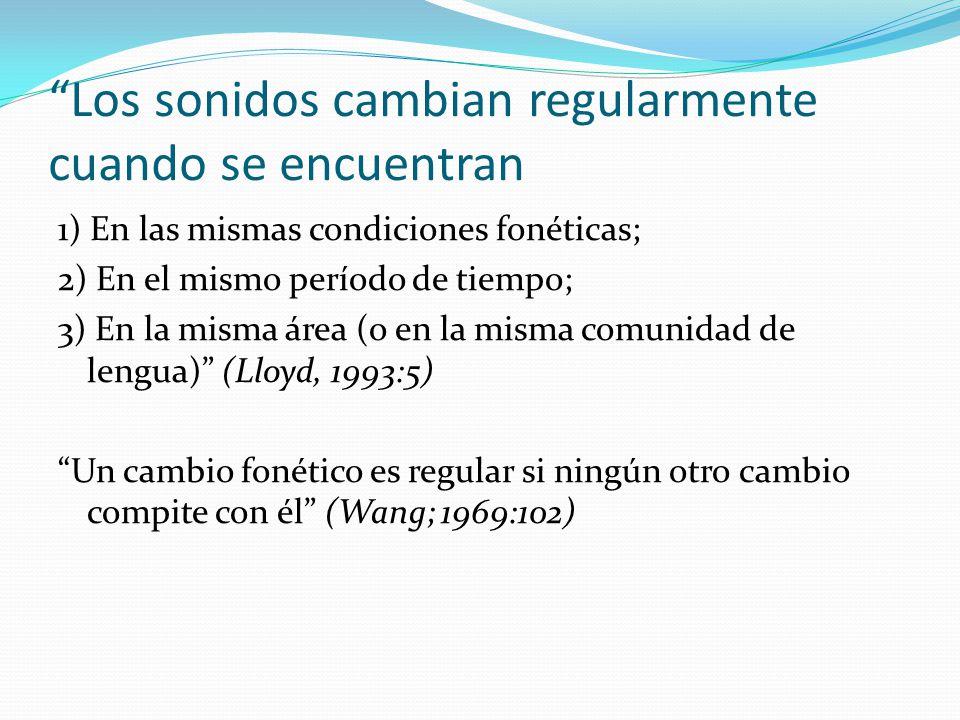 Los sonidos cambian regularmente cuando se encuentran 1) En las mismas condiciones fonéticas; 2) En el mismo período de tiempo; 3) En la misma área (o