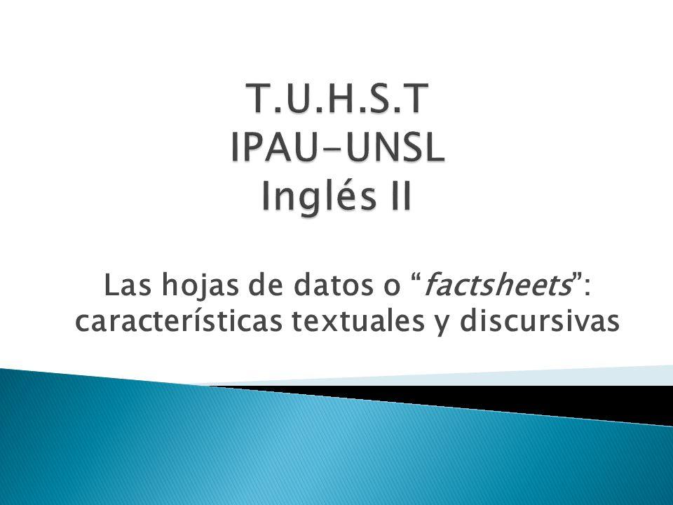 Las hojas de datos o factsheets: características textuales y discursivas