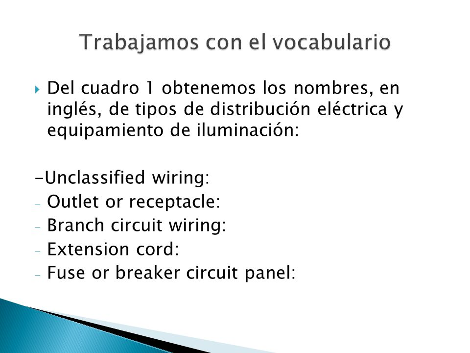 Del cuadro 1 obtenemos los nombres, en inglés, de tipos de distribución eléctrica y equipamiento de iluminación: -Unclassified wiring: - Outlet or rec