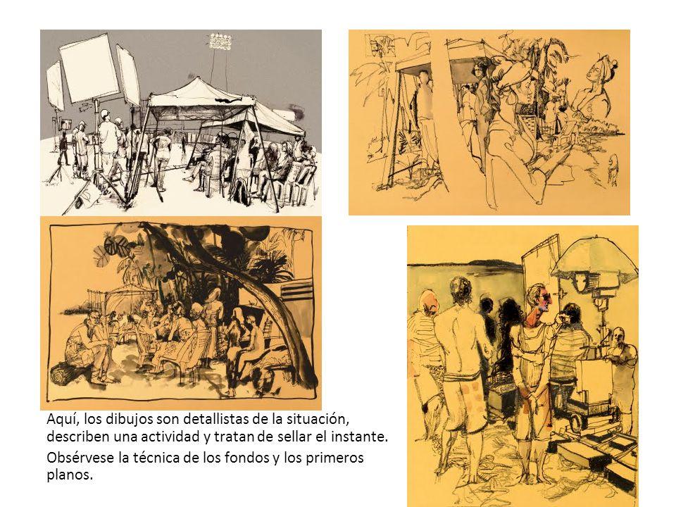 Aquí, los dibujos son detallistas de la situación, describen una actividad y tratan de sellar el instante. Obsérvese la técnica de los fondos y los pr