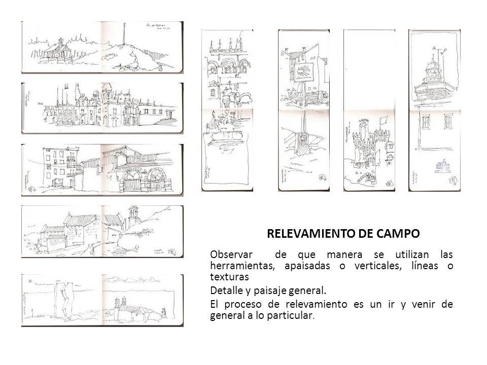 RELEVAMIENTO DE CAMPO Observar de que manera se utilizan las herramientas, apaisadas o verticales, líneas o texturas Detalle y paisaje general. El pro