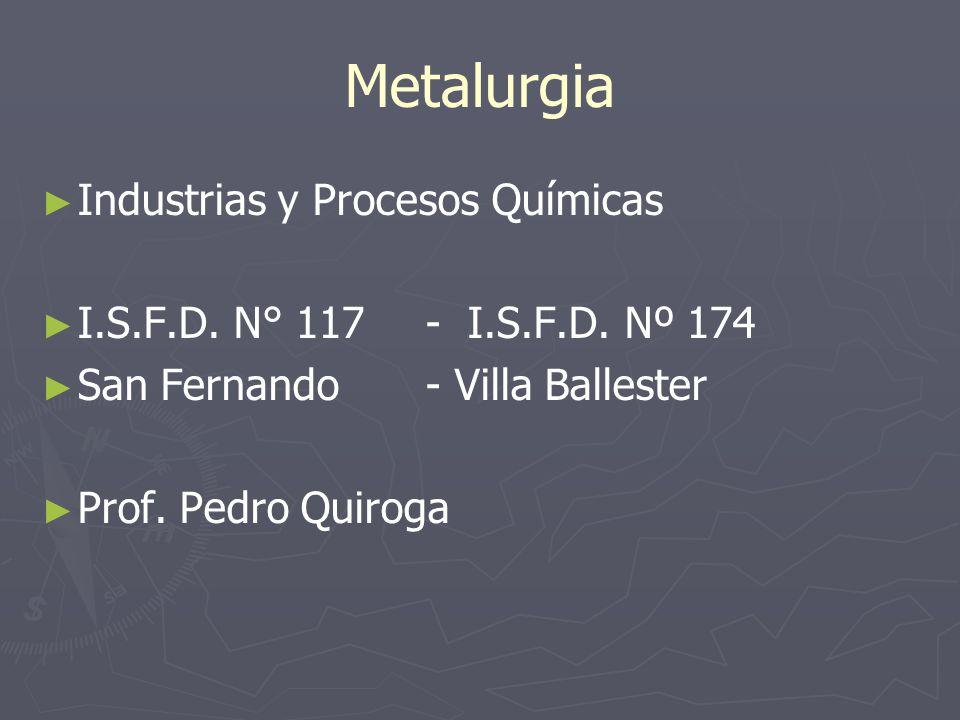 Obtención de metales Pirometalurgia Hidrometalurgia Electrometalurgia