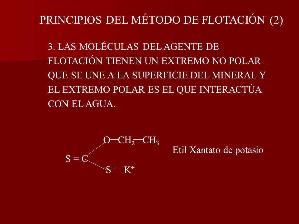 PRINCIPIOS DEL MÉTODO DE FLOTACIÓN 1.PARA QUE EL MÉTODO DE FLOTACIÓN FUNCIONE LAS PARTÍCULAS DEL MINERAL, DEBEN DE SER HIDROFÓBICAS. 2. LOS AGENTES DE