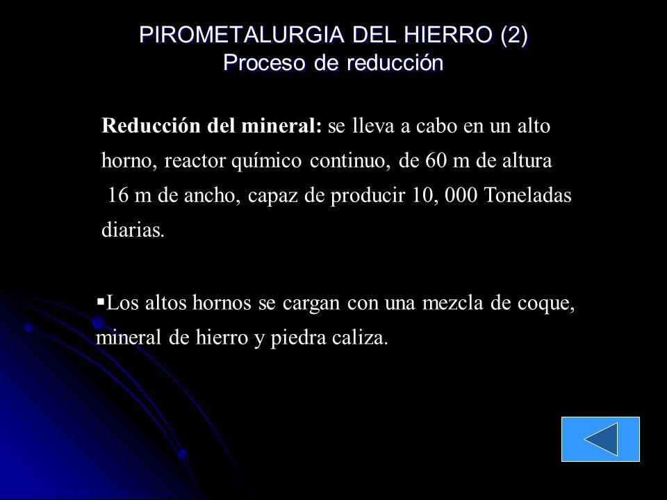 Principales minerales: Hematita Fe 2 O 3 y Magnetita Fe 3 O 4 Concentración de minerales: Se muele en forma de polvos finos y se separa el mineral de la ganga mediante imanes El contenido de hierro sube de 30-40 % a 60 o 65 %.