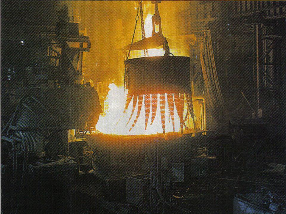 REFINACIÓN DEL HIERRO Y FORMACIÓN DEL ACERO(1) La refinación se lleva a cabo en un recipiente llamado Convertidor con capacidad aproximada de 300 Ton, Inicialmente se carga con recortes de hierro y CaO (75 Ton), posteriormente se llena con hierro fundido proveniente del alto horno.