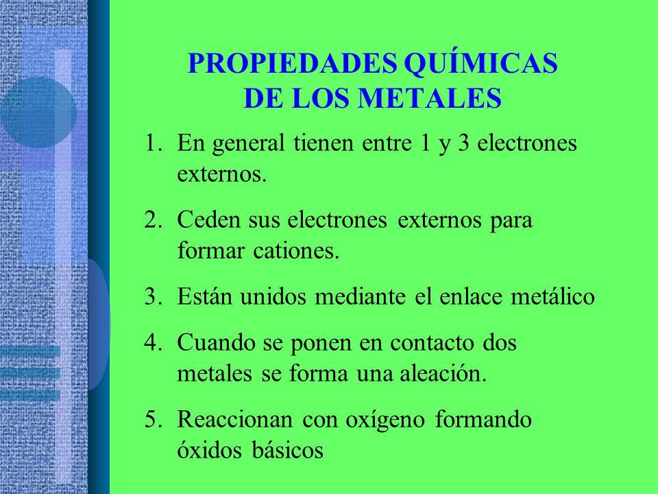 PROPIEDADES QUÍMICAS DE LOS METALES 1.En general tienen entre 1 y 3 electrones externos.