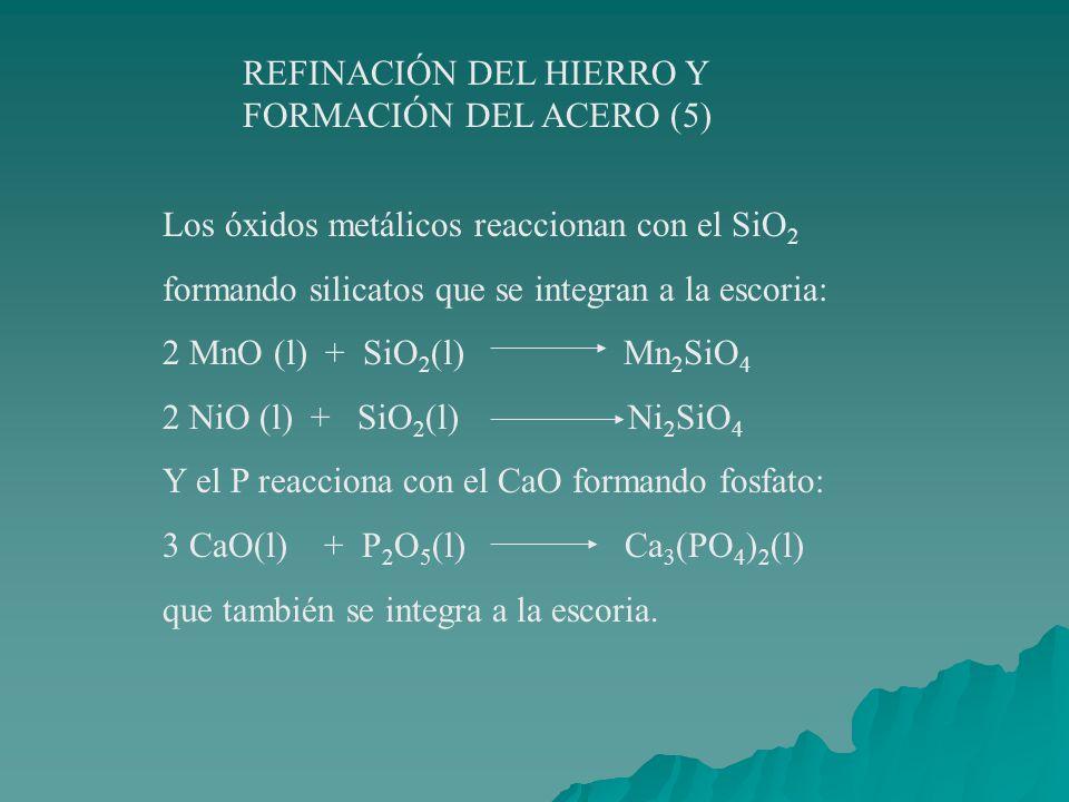 REFINACIÓN DEL HIERRO Y FORMACIÓN DEL ACERO (4) En resumen, las impurezas del hierro reaccionan con O2O2 2 Mn(l) + O 2 (g) 2 MnO(l) 2 Ni (l) + O 2 (g) 2NiO (l) Si(g) + O 2 (g) SiO 2 (l)