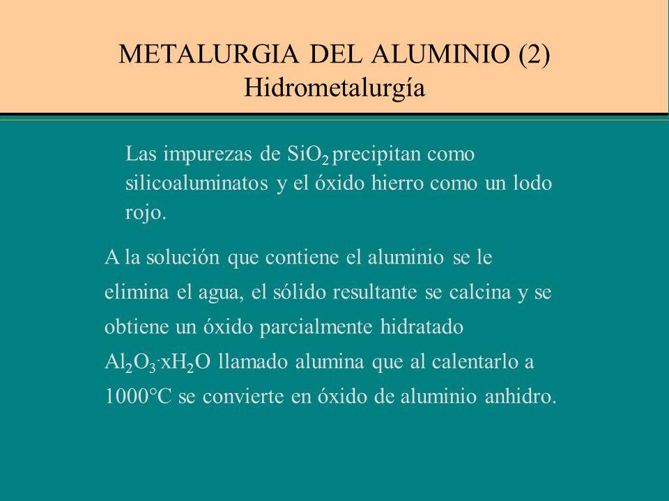 El mineral más adecuado para obtener el Al es la bauxita Al 2 O 3. xH 2 O. Para eliminar las impurezas de Fe y SiO 2, se emplea el proceso Bayer, en e