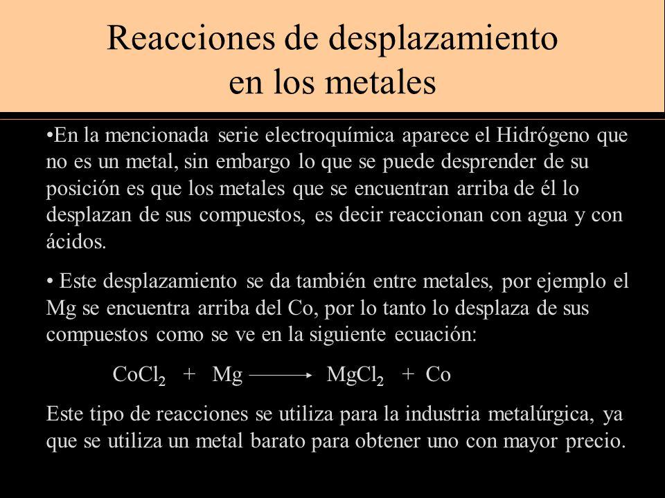Reacciones de desplazamiento en los metales En la mencionada serie electroquímica aparece el Hidrógeno que no es un metal, sin embargo lo que se puede desprender de su posición es que los metales que se encuentran arriba de él lo desplazan de sus compuestos, es decir reaccionan con agua y con ácidos.