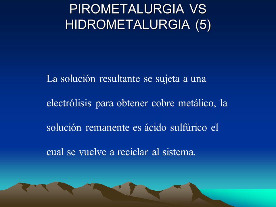 El mineral finamente dividido se suspende en una solución acuosa de ácido sulfúrico en presencia de oxígeno, donde tiene lugar la oxidación de la calcopirita, según la siguiente ecuación: 2CuFeS 2 (s) + 2H + (ac) + 4O 2 (g) 2Cu 2+ (ac) + SO 4 2- (ac) + Fe 2 O 3 (s) + 3S(s) + H 2 O(l) PIROMETALURGIA VS HIDROMETALURGIA(4)