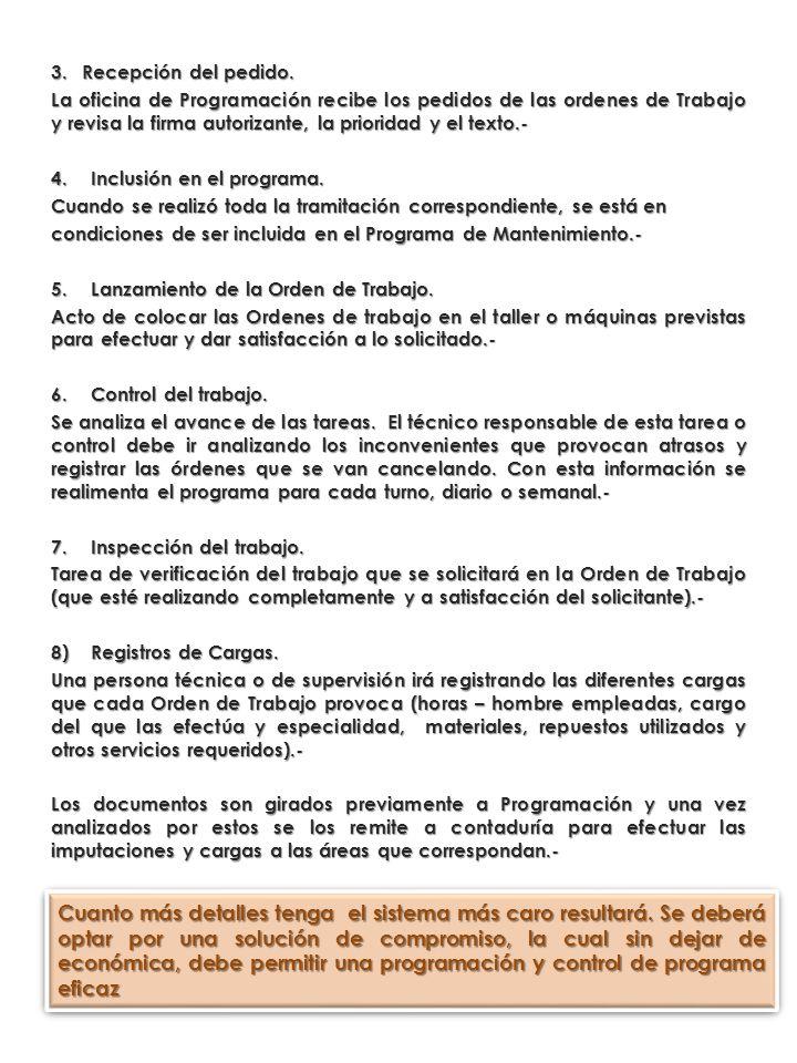 3.Recepción del pedido. La oficina de Programación recibe los pedidos de las ordenes de Trabajo y revisa la firma autorizante, la prioridad y el texto