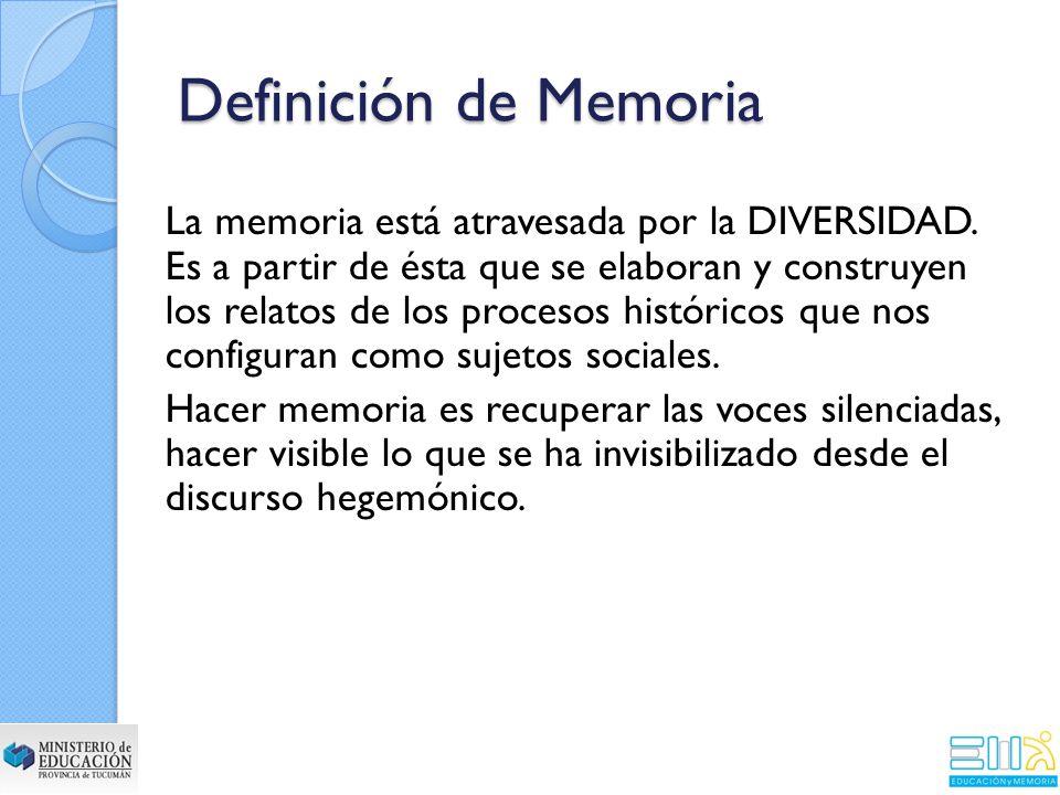 La memoria está atravesada por la DIVERSIDAD.