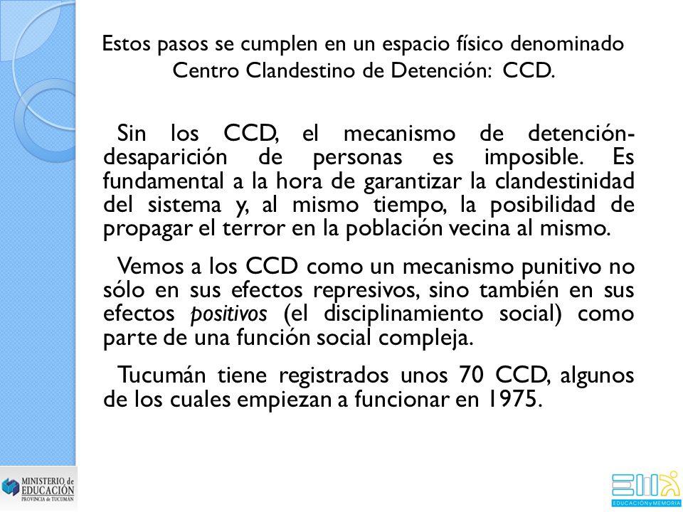 Sin los CCD, el mecanismo de detención- desaparición de personas es imposible.