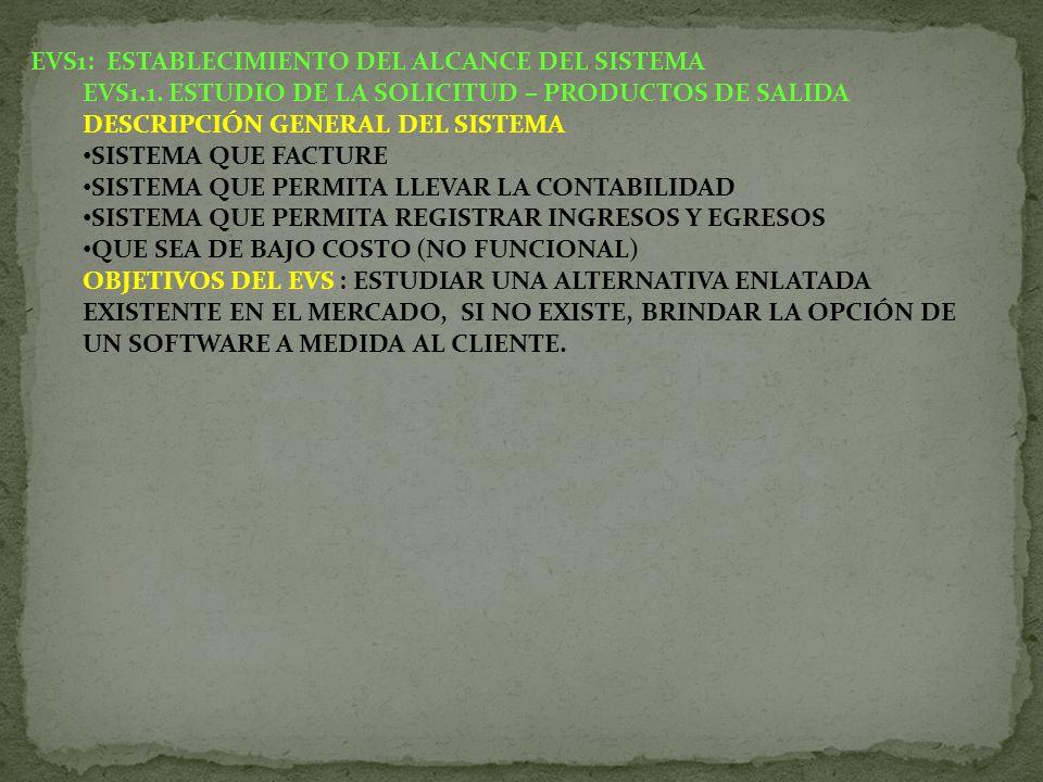 EVS1: ESTABLECIMIENTO DEL ALCANCE DEL SISTEMA EVS1.1. ESTUDIO DE LA SOLICITUD – PRODUCTOS DE SALIDA DESCRIPCIÓN GENERAL DEL SISTEMA SISTEMA QUE FACTUR