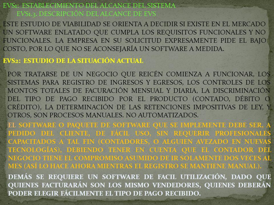 EVS1: ESTABLECIMIENTO DEL ALCANCE DEL SISTEMA EVS1.3. DESCRIPCIÓN DEL ALCANCE DE EVS ESTE ESTUDIO DE VIABILIDAD SE ORIENTA A DECIDIR SI EXISTE EN EL M