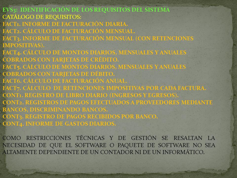 EVS3: IDENTIFICACIÓN DE LOS REQUISITOS DEL SISTEMA CATÁLOGO DE REQUISITOS: FACT1. INFORME DE FACTURACIÓN DIARIA. FACT2. CÁLCULO DE FACTURACIÓN MENSUAL