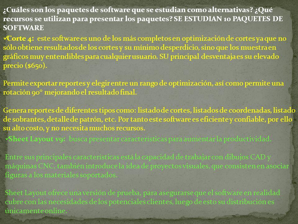 ¿Cuáles son los paquetes de software que se estudian como alternativas? ¿Qué recursos se utilizan para presentar los paquetes? SE ESTUDIAN 10 PAQUETES