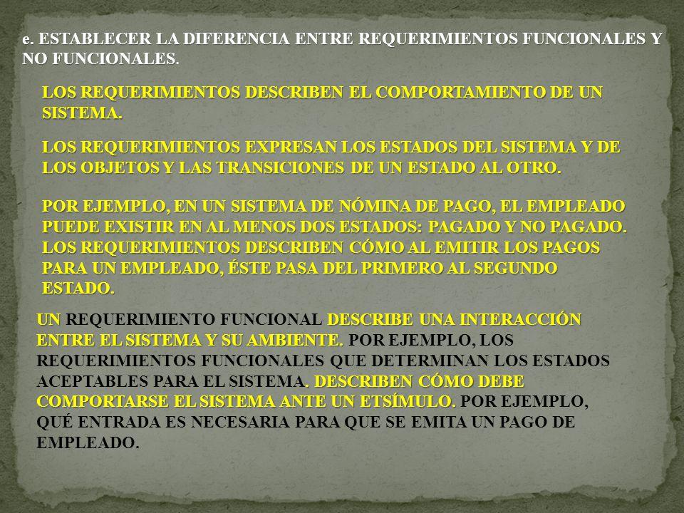 e. ESTABLECER LA DIFERENCIA ENTRE REQUERIMIENTOS FUNCIONALES Y NO FUNCIONALES e. ESTABLECER LA DIFERENCIA ENTRE REQUERIMIENTOS FUNCIONALES Y NO FUNCIO