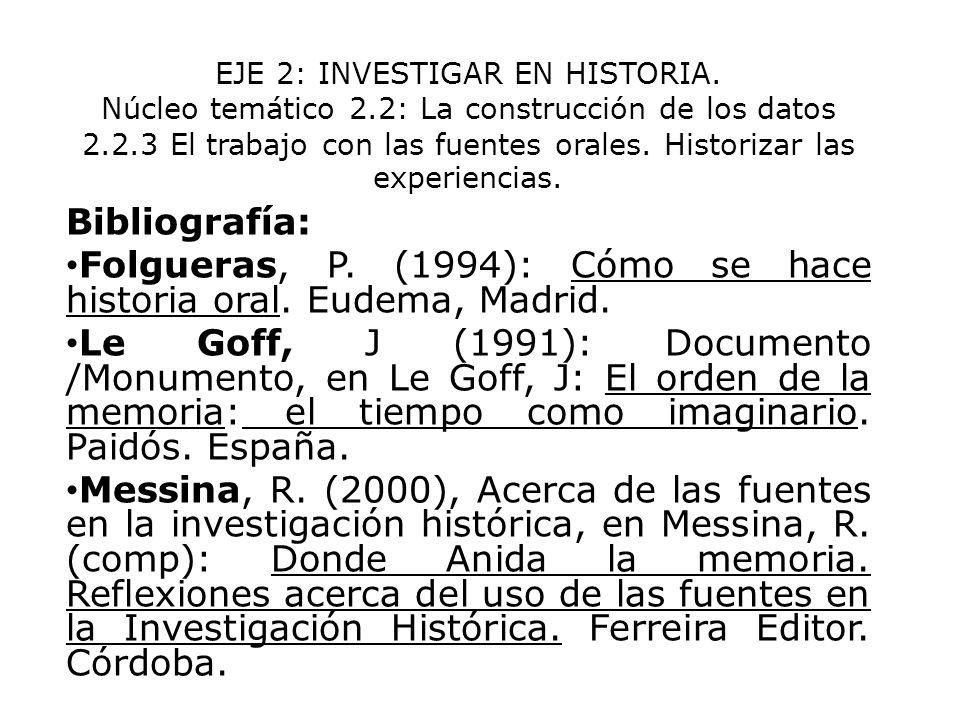 EJE 2: INVESTIGAR EN HISTORIA. Núcleo temático 2.2: La construcción de los datos 2.2.3 El trabajo con las fuentes orales. Historizar las experiencias.