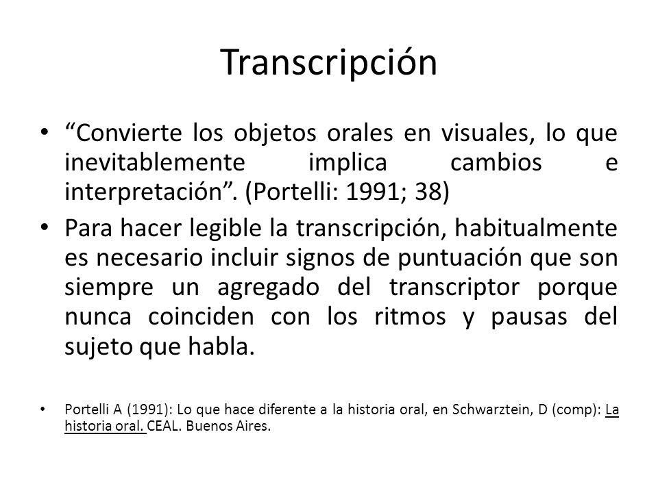 Transcripción Convierte los objetos orales en visuales, lo que inevitablemente implica cambios e interpretación. (Portelli: 1991; 38) Para hacer legib