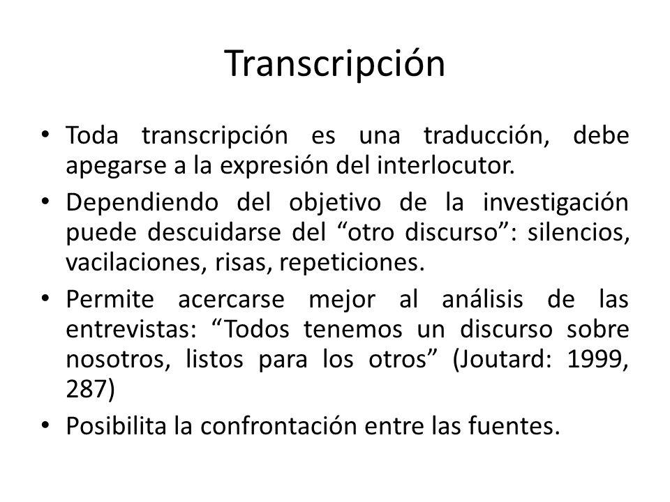 Transcripción Toda transcripción es una traducción, debe apegarse a la expresión del interlocutor. Dependiendo del objetivo de la investigación puede