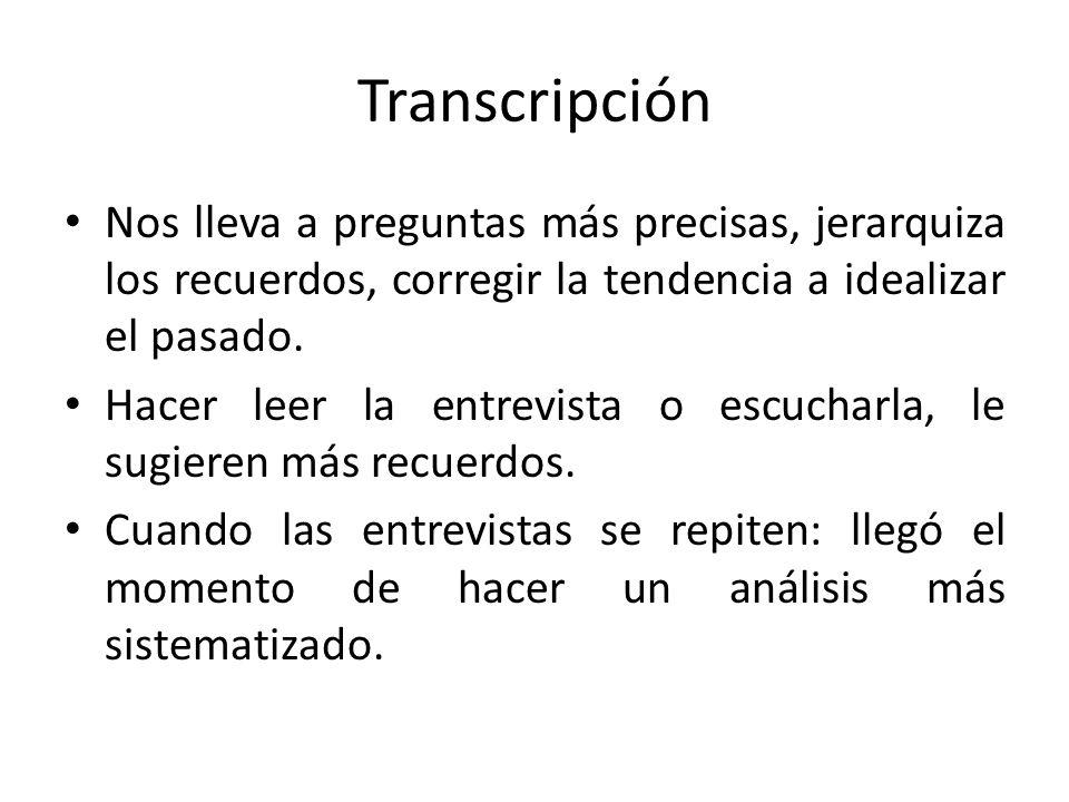 Transcripción Nos lleva a preguntas más precisas, jerarquiza los recuerdos, corregir la tendencia a idealizar el pasado. Hacer leer la entrevista o es