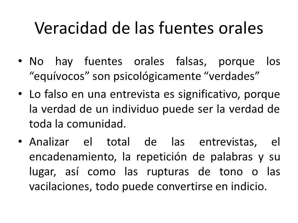 Veracidad de las fuentes orales No hay fuentes orales falsas, porque los equívocos son psicológicamente verdades Lo falso en una entrevista es signifi