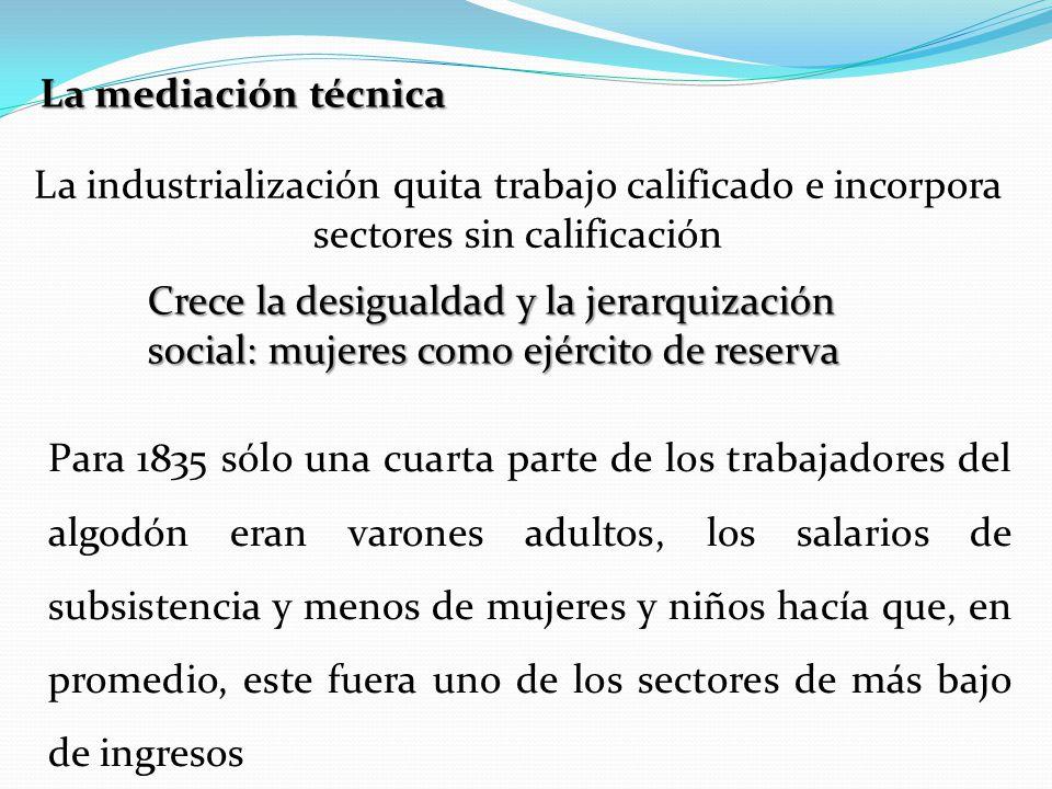 La mediación técnica La industrialización quita trabajo calificado e incorpora sectores sin calificación Crece la desigualdad y la jerarquización soci