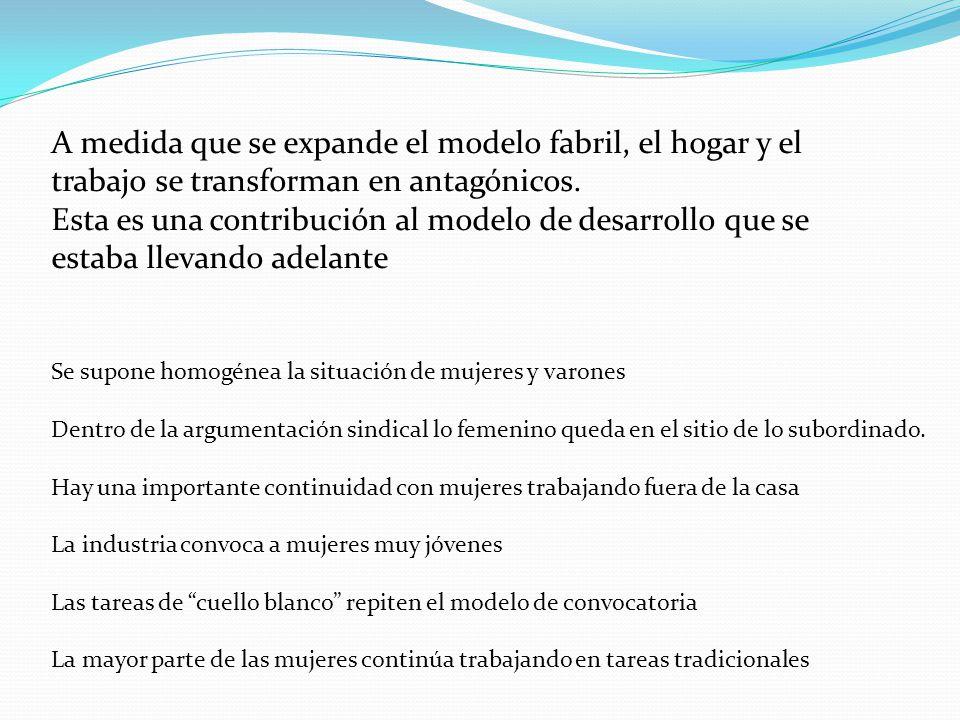 A medida que se expande el modelo fabril, el hogar y el trabajo se transforman en antagónicos. Esta es una contribución al modelo de desarrollo que se