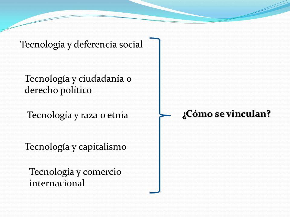 Tecnología y deferencia social Tecnología y ciudadanía o derecho político Tecnología y raza o etnia Tecnología y capitalismo ¿Cómo se vinculan? Tecnol