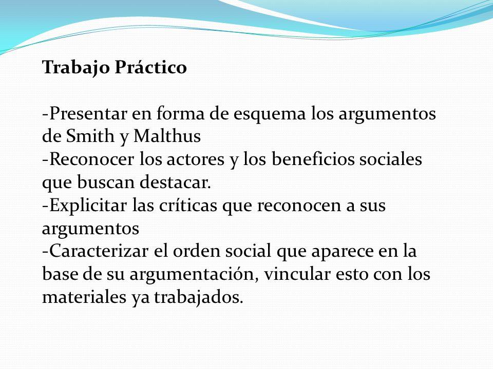 Trabajo Práctico -Presentar en forma de esquema los argumentos de Smith y Malthus -Reconocer los actores y los beneficios sociales que buscan destacar