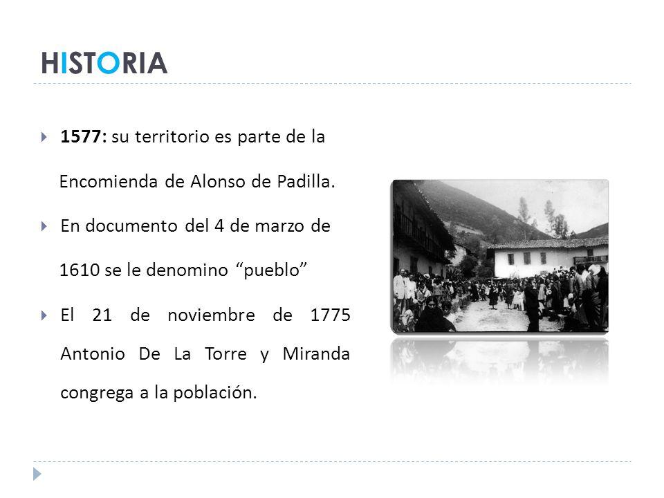 HISTORIA 1577: su territorio es parte de la Encomienda de Alonso de Padilla.