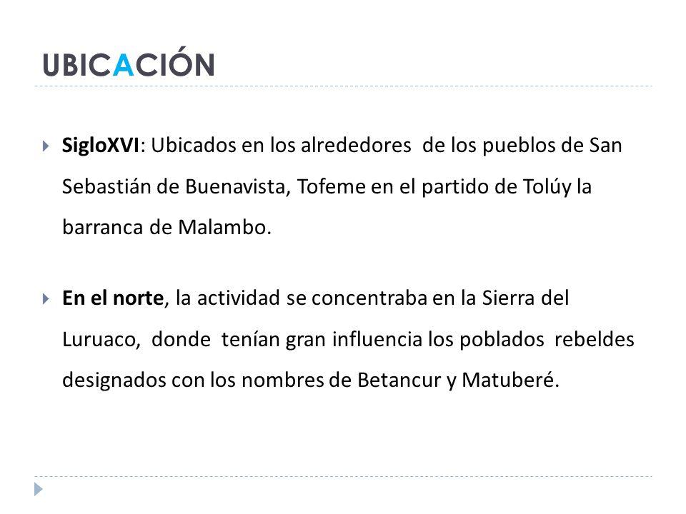UBICACIÓN SigloXVI: Ubicados en los alrededores de los pueblos de San Sebastián de Buenavista, Tofeme en el partido de Tolúy la barranca de Malambo.