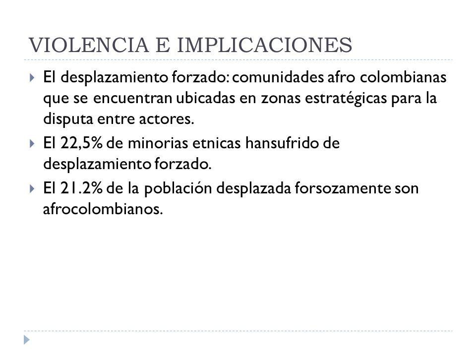 VIOLENCIA E IMPLICACIONES El desplazamiento forzado: comunidades afro colombianas que se encuentran ubicadas en zonas estratégicas para la disputa entre actores.