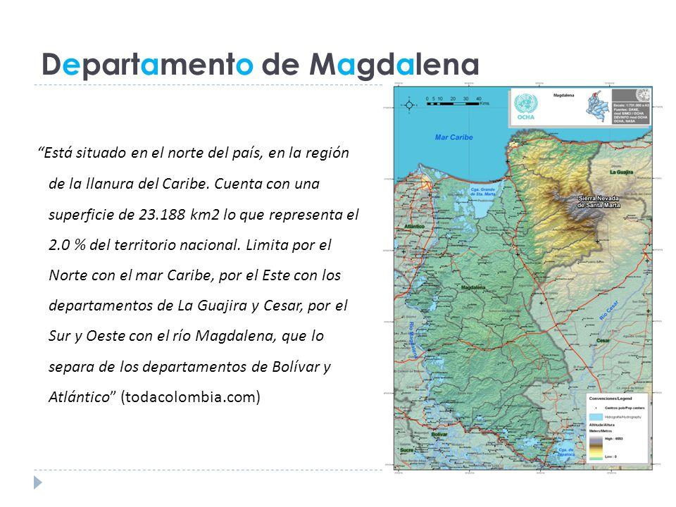 Departamento de Magdalena Está situado en el norte del país, en la región de la llanura del Caribe.