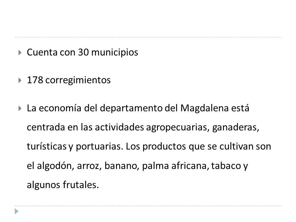 Cuenta con 30 municipios 178 corregimientos La economía del departamento del Magdalena está centrada en las actividades agropecuarias, ganaderas, turísticas y portuarias.