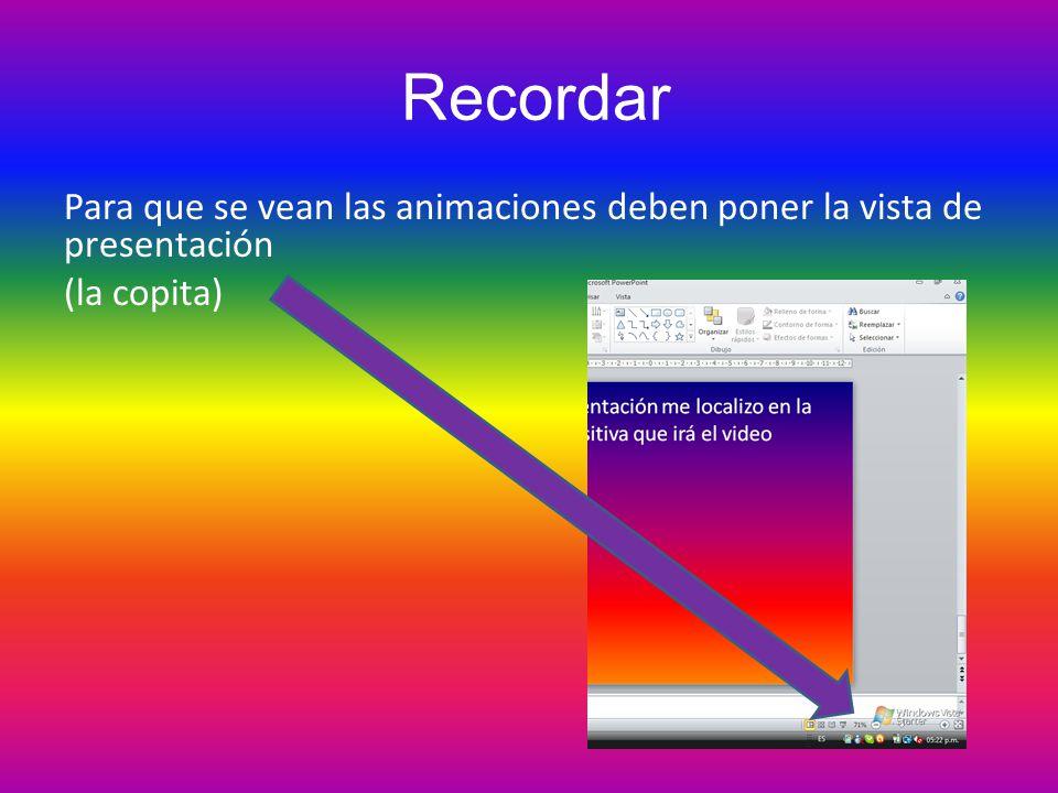 Recordar Para que se vean las animaciones deben poner la vista de presentación (la copita)
