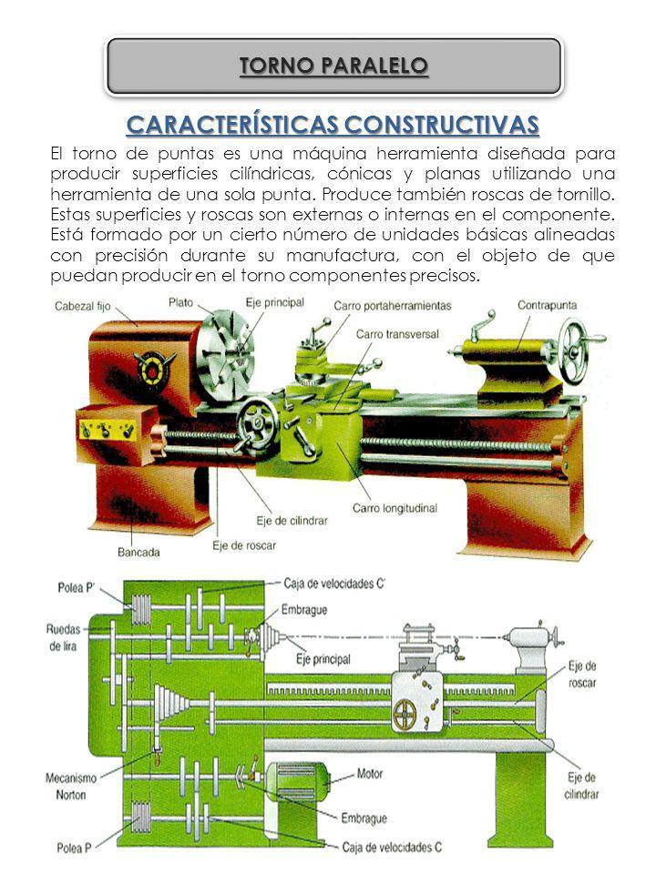 CARACTERÍSTICAS CONSTRUCTIVAS El torno de puntas es una máquina herramienta diseñada para producir superficies cilíndricas, cónicas y planas utilizand