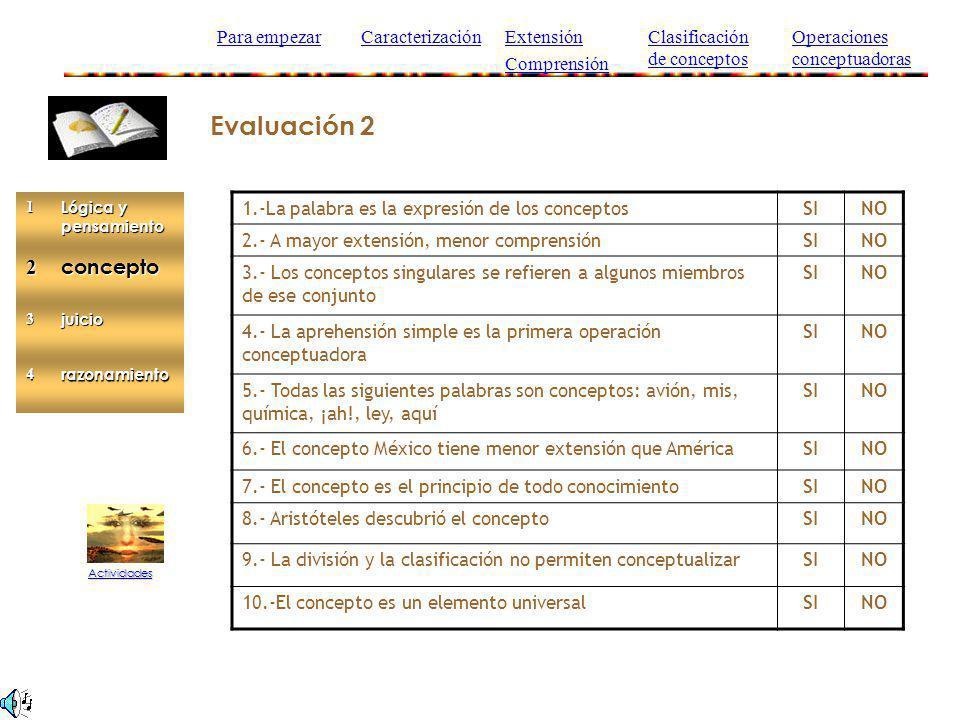 Evaluación 2 Actividades 1.-La palabra es la expresión de los conceptosSINO 2.- A mayor extensión, menor comprensiónSINO 3.- Los conceptos singulares