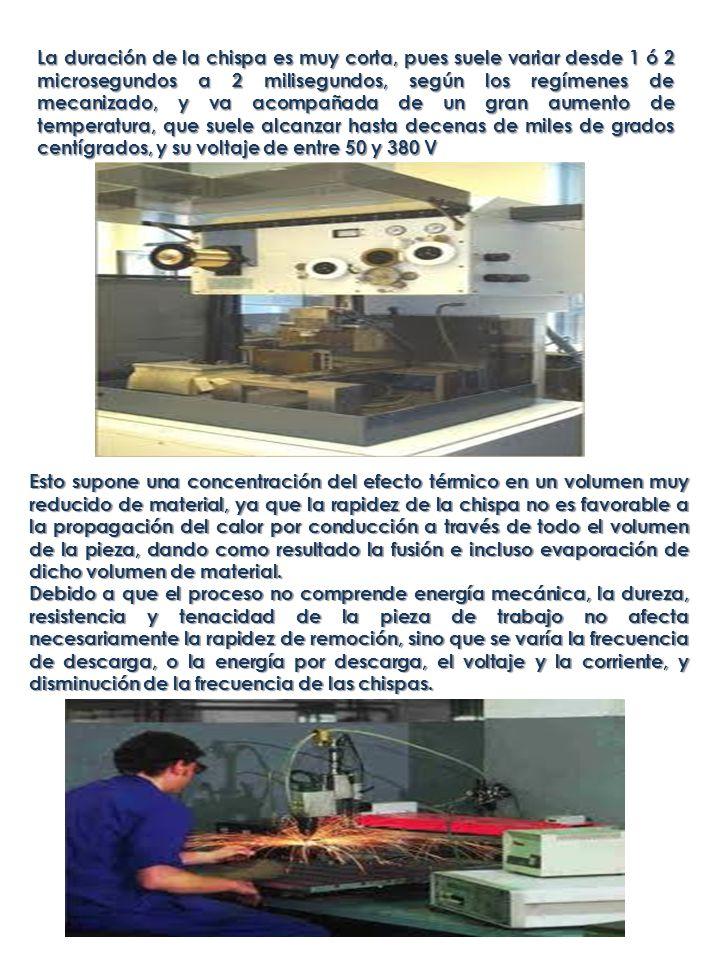 PROCESO DE LA DESCARGA El mecanizado por electroerosión se efectúa por tanto mediante el salto de chispas eléctricas entre dos electrodos sometidos a una determinada tensión eléctrica y sumergidos ambos en un líquido aislante (líquido dieléctrico).