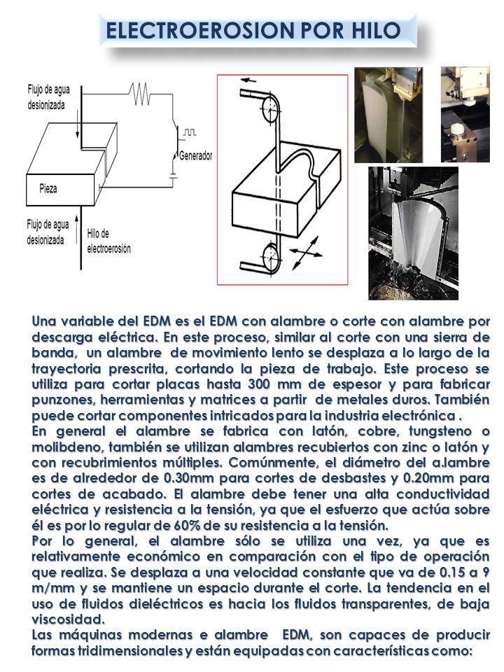 ELECTROEROSION POR HILO Una variable del EDM es el EDM con alambre o corte con alambre por descarga eléctrica. En este proceso, similar al corte con u