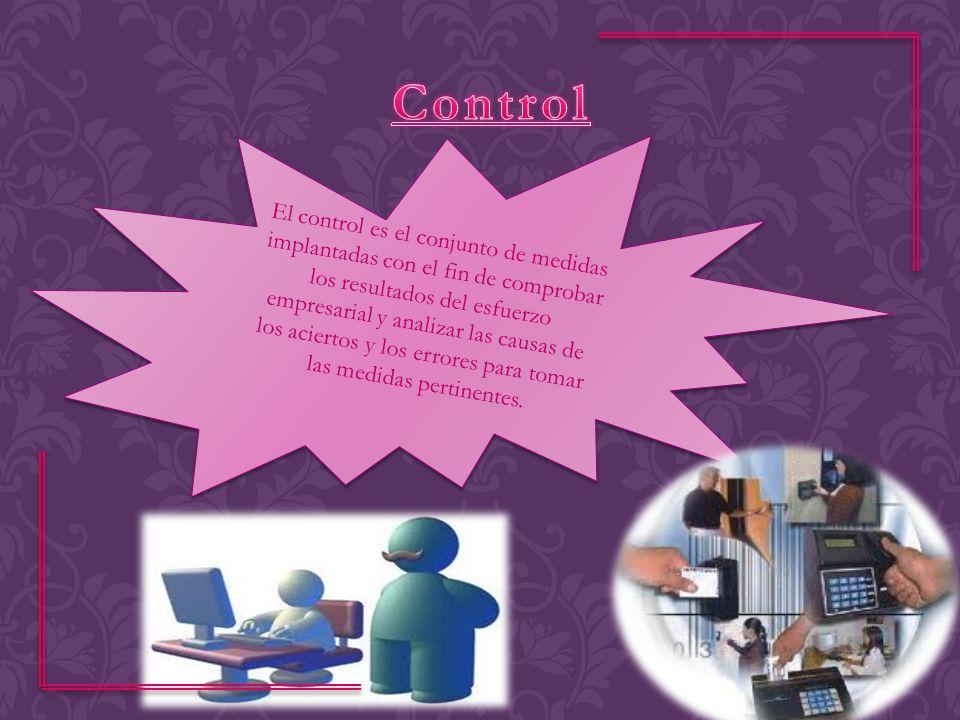 El control es el conjunto de medidas implantadas con el fin de comprobar los resultados del esfuerzo empresarial y analizar las causas de los aciertos